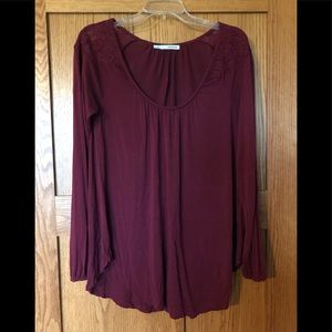 Maurice's Maroon Long Sleeve Top Size M